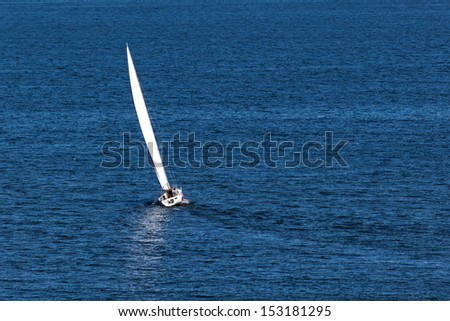 Lonely sailboat in the Baltic Sea.