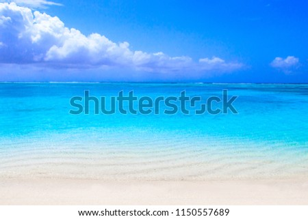 Lonely sandy beach with turquoise ocean and blue sky #1150557689