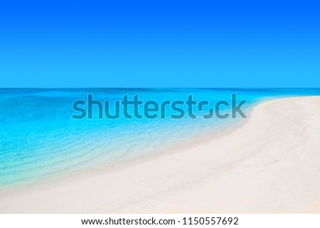 Lonely sandy beach with turquoise ocean and blue sky #1150557692