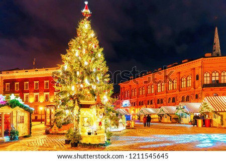 Lonely streets in the old town during the Christmas celebrations in Christmas market in winter Riga in Latvia.