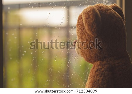 Stock Photo lonely teddy bear in the rain