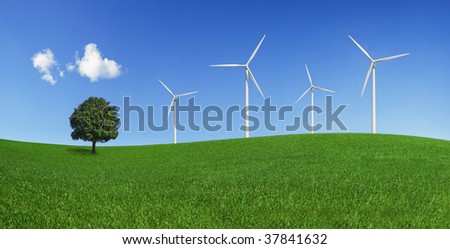 Lonely tree and wind turbines on a green field. Green energy and environmental conservation symbols (XXXLarge).