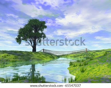lonely tree river and rope bridge