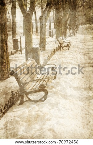 Lonely winter street . Photo in vintage image style.