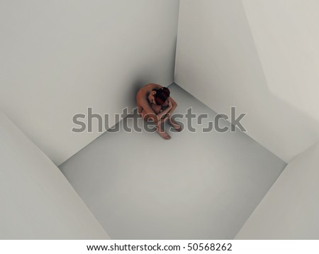 lonely woman in prison cell