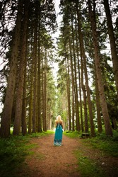 lonely woman walking alone into the fir woods