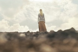 lonely woman walking towards infinity in a surreal place