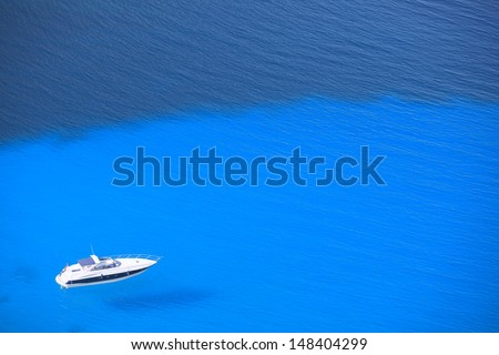 Lonely Yacht in the Open  Sea View From Above