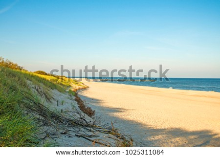 lonesome beach of the Baltic Sea in Poland, Ustka #1025311084
