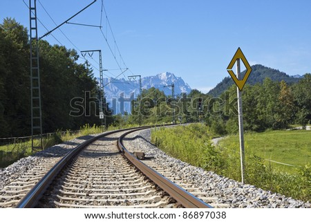 Lonesome railway in the bavarian alps