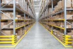 Long Aisle With Shelves in Fulfillment Warehouse