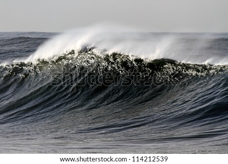Long and high wave on the Portuguese coast