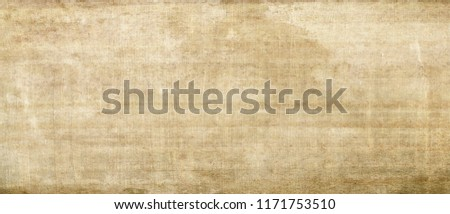 Long and wide background in horizontal position. Egyptian paper,papyrus texture of yellow-brown light old paint that is old and has a fine patina.From Mediterranean region.