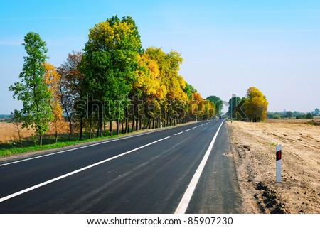 long asphalt road and autumn trees on sky background