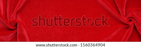Long banner velvet texture red color background, expensive luxury fabric,  wallpaper. Christmas backdrop, copy space Foto stock ©
