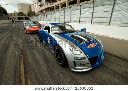 LONG BEACH, CA - APRIL 10: Drift cars line-up for practices  at Formula Drift April 10, 2009 in Long Beach, California.