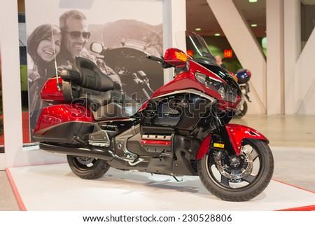 Long Beach, CA - November 13, 2014: Honda Gold Wing 2015 motorcycle on display at the International Motorcycle Show