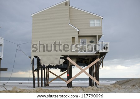 LONG BEACH ISLAND,NJ-NOVEMBER 1: Houses destroyed by the storm surge caused by Hurricane Sandy.Nov 1 2012, Long Beach Island, NJ