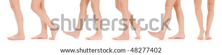 Long beautiful female legs, isolated on a white background.