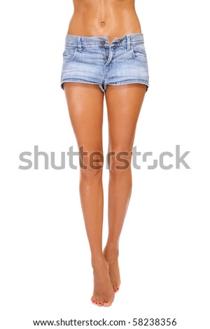 stock photo long beautiful tanned slim legs of young sexy woman in blue denim shorts on white background 58238356 ... Long beautiful tanned slim legs of young sexy woman in blue denim shorts