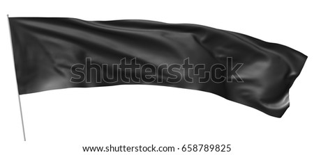 Long black flag on flagpole flying and waving in the wind isolated on white, 3d illustration