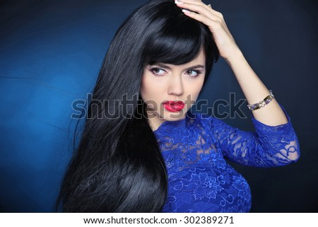long black hair beautiful model girl with healthy
