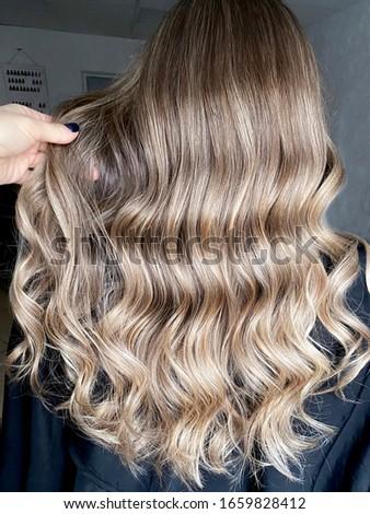 Long blond hair with balayage  Photo stock ©