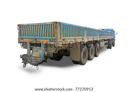 Long blue chinese truck with diminishing perspective
