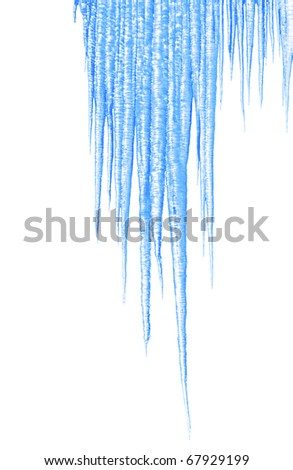 long blue icicles on white