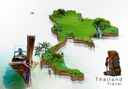 long boat and island map Thailand, concept