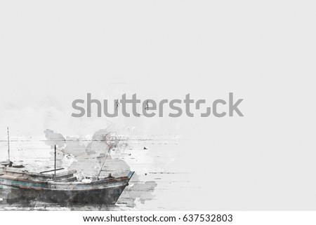 Long boat fishing in sea, Fishing boat on watercolor paining background