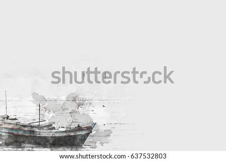 long boat fishing in sea ...