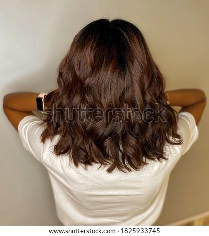 long bob with wave hair Stockfoto ©