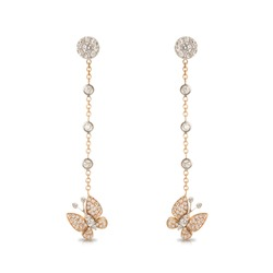 Long butterfly earrings on a pink gold chain with diamonds isolated on white background