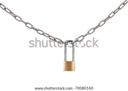 Long chain closed on the padlock isolated on white background