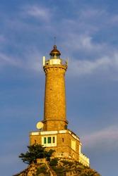 Long Chau lighthouse in Lan ha bay, Cat Ba island, Hai Phong, Vietnam.
