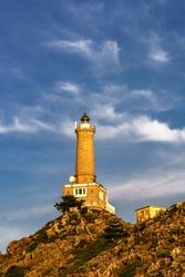 Long Chau lighthouse in Lan ha bay, Cat Ba island, Hai Phong, Vietnam. Near Halong bay, Quang Ninh, Vietnam