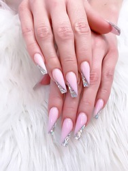 long coffins nails with pink acrylic powder color and sparkle