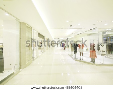 Long corridor and showcase - stock photo
