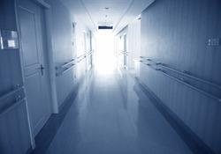 long corridor in a hospital.