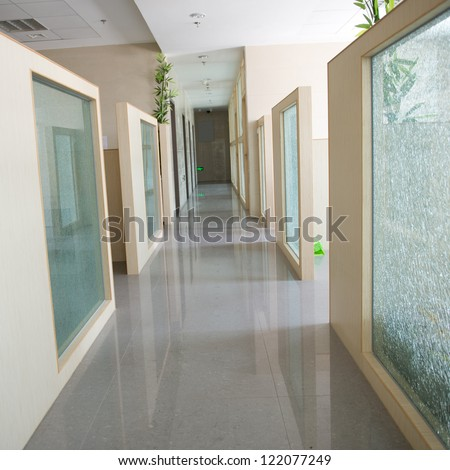 long corridor in the hospital.
