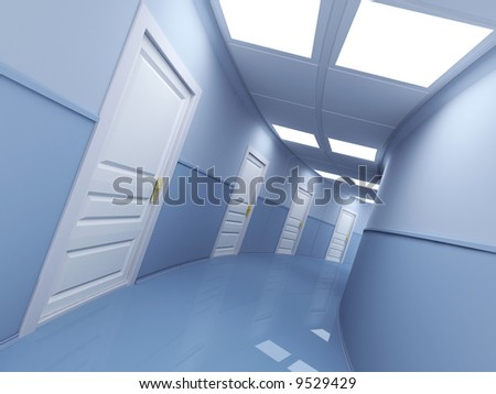 Long corridor with many doors