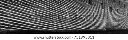 Long curving lines of ships planked wooden hull #751995811