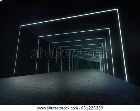 Long dark corridor interior with futuristic light.3D rendering