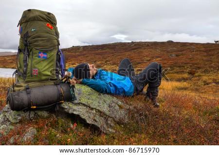 long distance Hiker takes a break