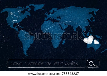 long distance relationship concept: world map with lovehearts connected to cupid's bow by dashed line across continents above search bar