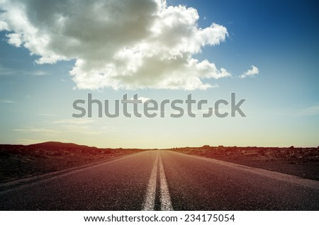 Long endless road with no traffic