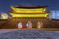 long exposure Beautiful Old Architecture at  gyeongbokgung Palace night time in Seoul Seoul,South Korea