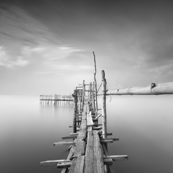 Long exposure, Black and white image of