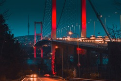 Long exposure bosporus bridge with dramatic moody and trendy colors during twilight